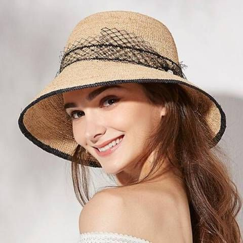 ddf2ef63 Summer raffia sun hat with veil for women peal straw beach hat packable