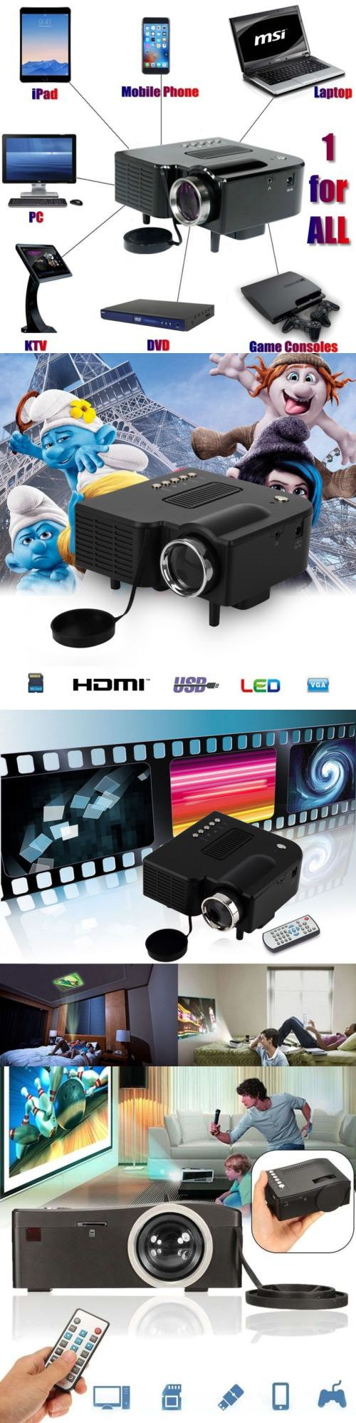 Home Theater Projectors: Full Hd 1080P Home Theater Led Mini Multimedia Projector Cinema Usb Phone Pc Us -> BUY IT NOW ONLY: $34.85 on eBay!