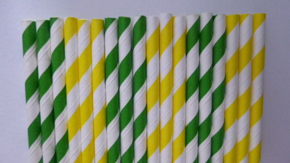 50 John Deere- Kelly Green & Yellow Paper Straws-  John Deere Party- Baby Shower Decorations- Birthday Decor