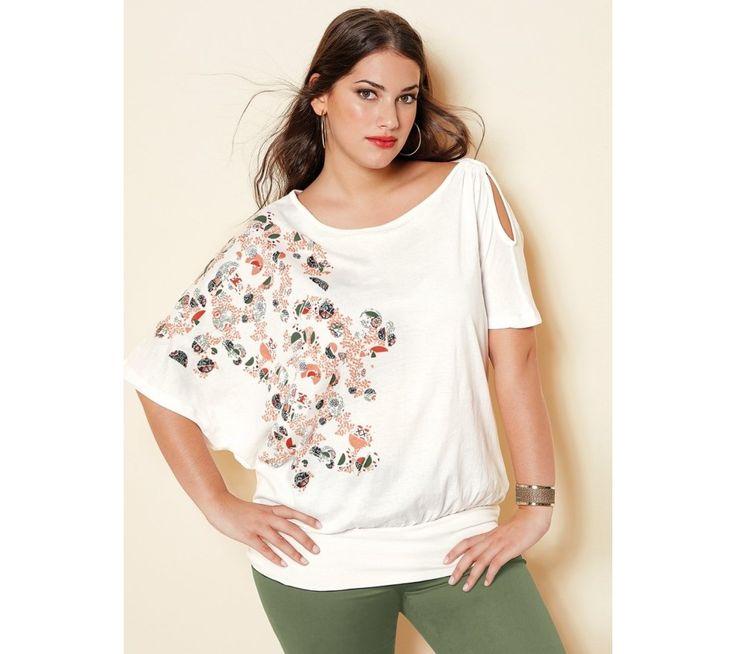 Tričko s potlačou a prestrihom | modino.sk  #ModinoSK #modino_sk #modino_style #style #fashion #shirt #bellisima