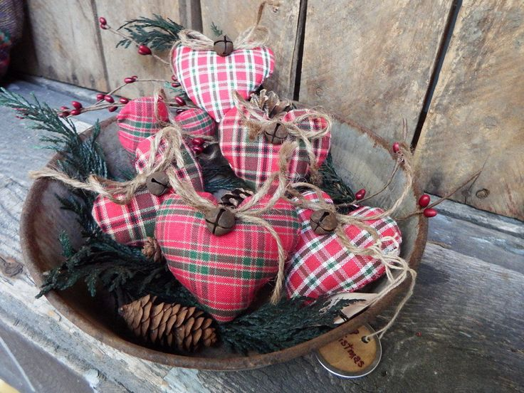 Primitive Christmas Bowl Fillers, Mini Hearts, Christmas Plaids, Country Christmas Decor, Red and Green, Heart Cupboard Tucks, Prim Country by TattersandScraps on Etsy