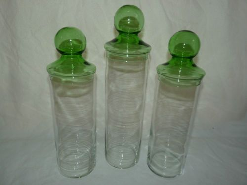 Vintage Set Of Tall Clear To Green Glass Canister Apothecary Lidded Jars    SOLD