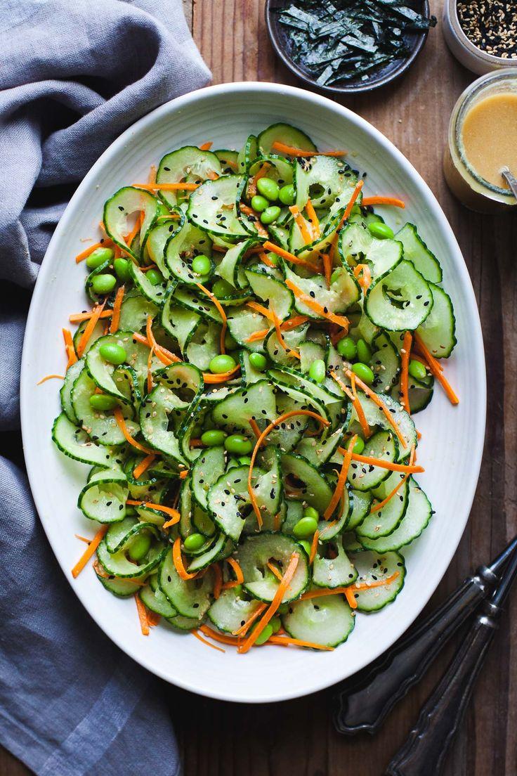 Sesame Ginger Miso Cucumber Salad - Snixy Kitchen