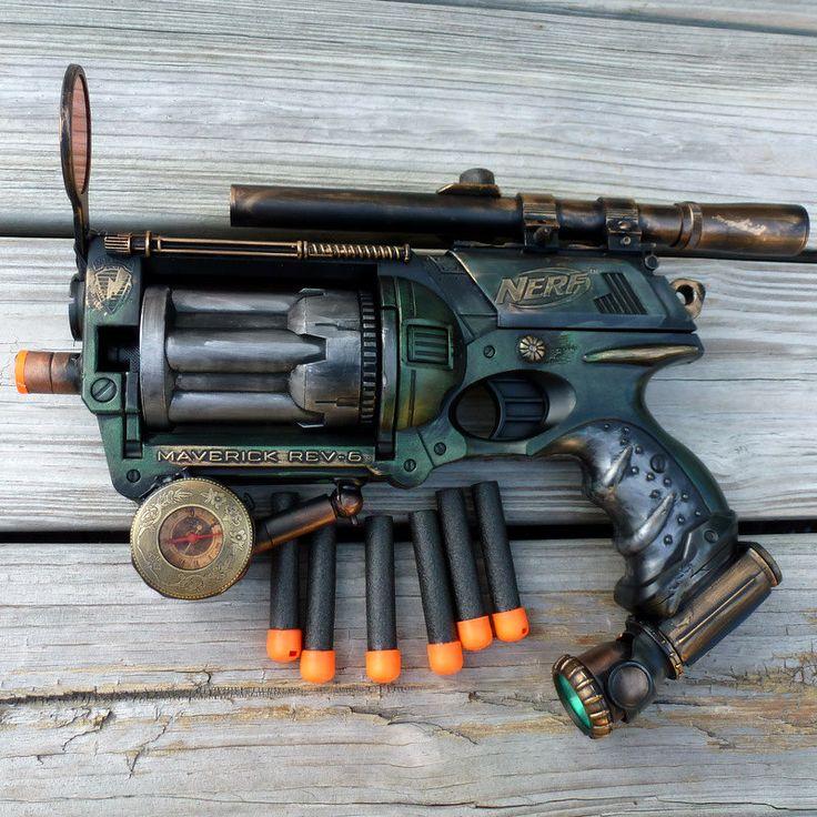 Steampunk Nerf Gun | Steampunk Gun Nerf Maverick N-Strike Victorian Gothic compass pocket ...