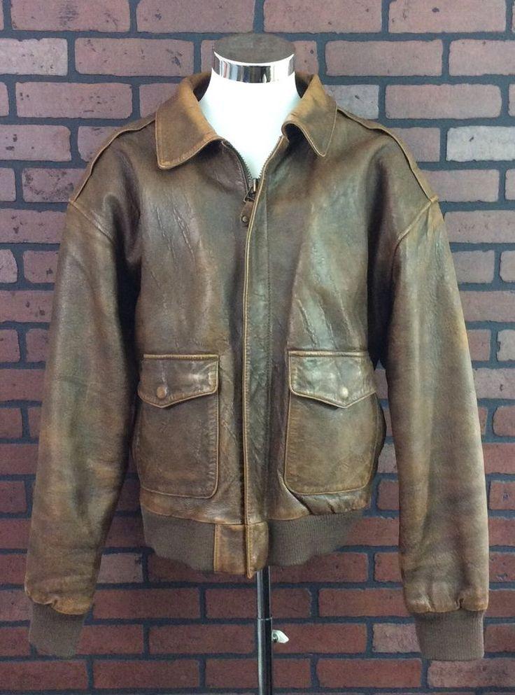 Charles Klein Vintage Distressed Brown Genuine Leather bomber Jacket Mens XL #CharlesKlein #FlightBomber