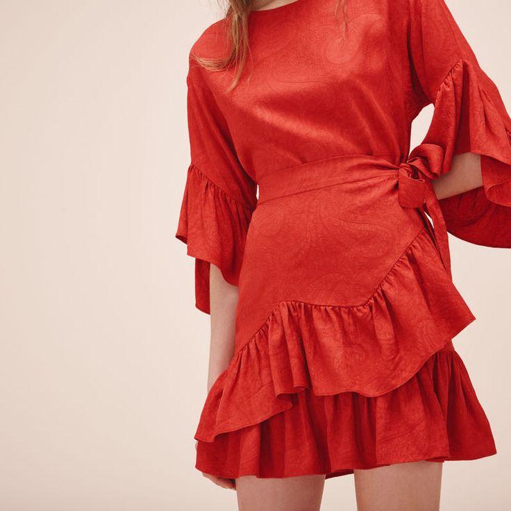 Robe suedine rouge maje