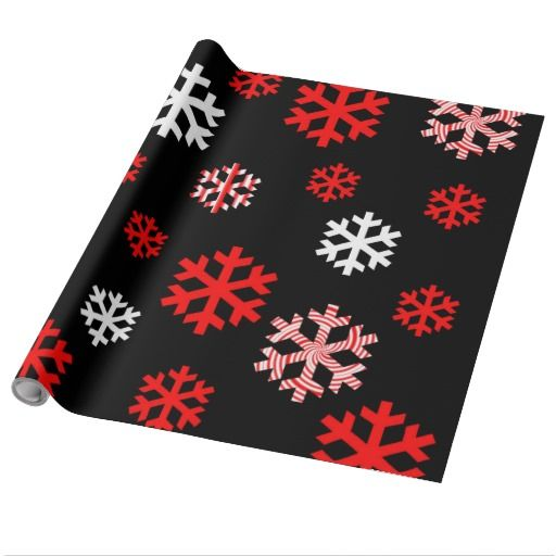 Red and white snowflakes gift wrapping paper for him or her.  #redandwhite #Christmasgiftwrap