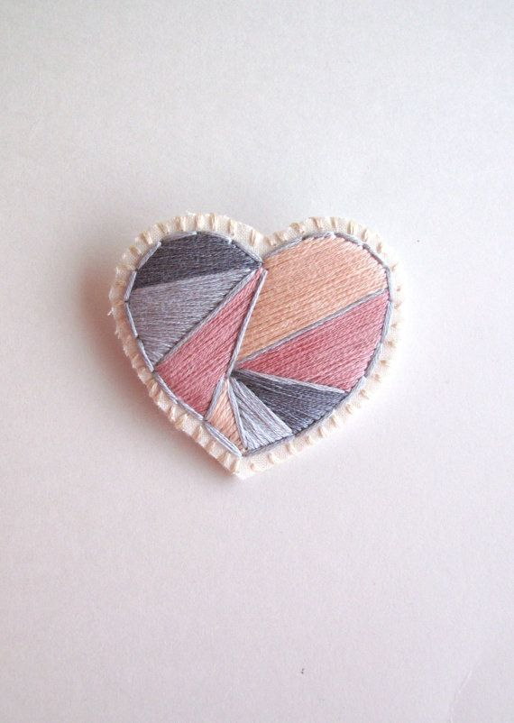 Valentines Day heart brooch hand embroidered by AnAstridEndeavor
