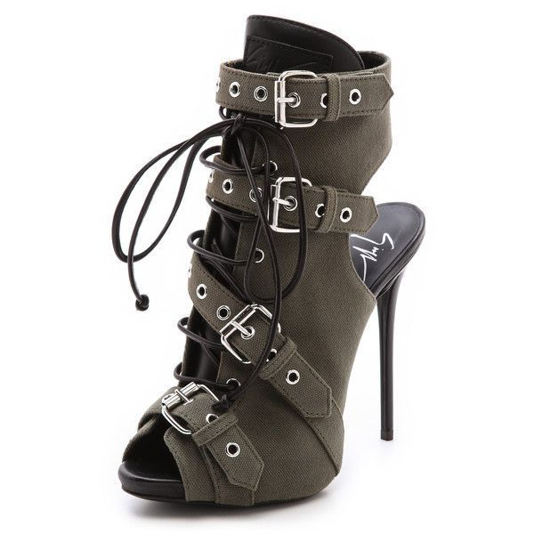 8eaf8b17de6 Giuseppe Zanotti Buckled Peep Toe Booties - Military (£335) ❤ liked on Polyvore  featuring shoes