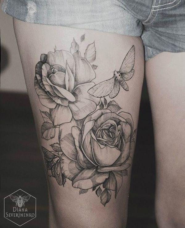 thigh tattoo for girl - 55 Lovely Tattoos for Girls