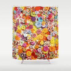 Buttons 3 Shower Curtain by I Love the Quirky