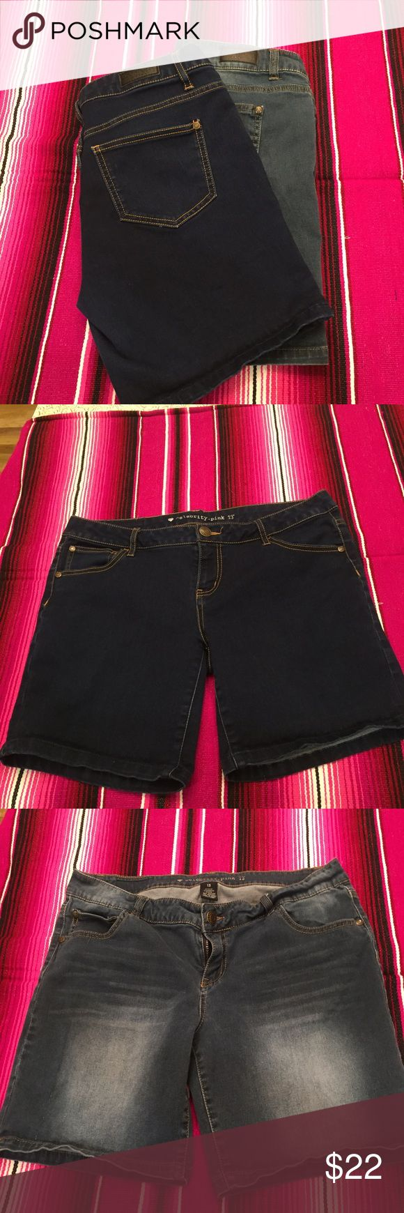 Bundle of Celebrity Pink Brand women's shorts this is for both pairs of these size 13 Bermuda shorts. One dark and one light Denim they have a Great stretch to them. Celebrity Pink Shorts Bermudas