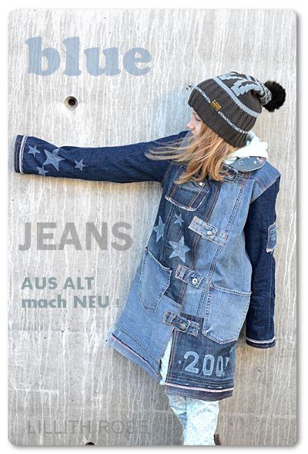 LillithRose hat mehrere alte Jeanshosen zu einem Querida-Mantel vernäht. So einzigartig kann Recycling sein!