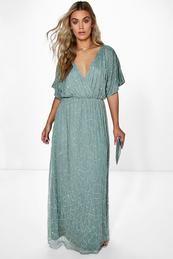 Plus Rose All Over Sequin Maxi Dress