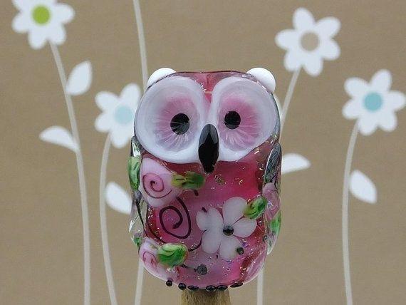 Gladys... lampwork owl bead.. sra by DeniseAnnette on Etsy, $22.00