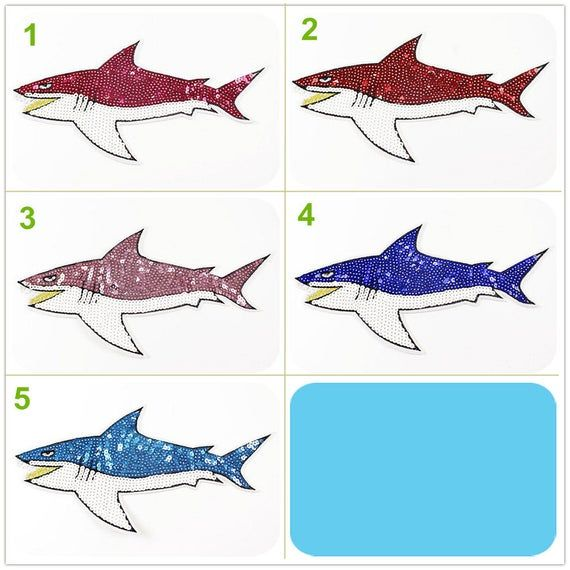 14x27cm Sequins Glitter Beaded Fish Shark Applique Sea Animal cloth DIY badge Craft decorative Party cloth hair bag accessory supply