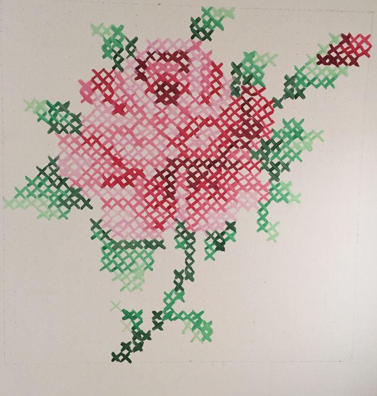 Cross stitch Rose Muurschildering 120-120cm www.liefsvansuzan.nl