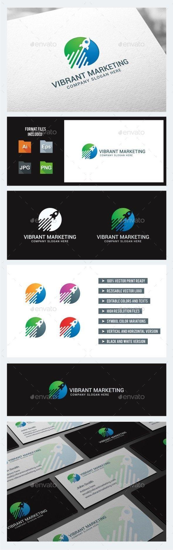 Vibrant Marketing Rocket  - Logo Design Template Vector #logotype Download it here: http://graphicriver.net/item/vibrant-marketing-rocket-logo-template/10779523?s_rank=1409?ref=nesto