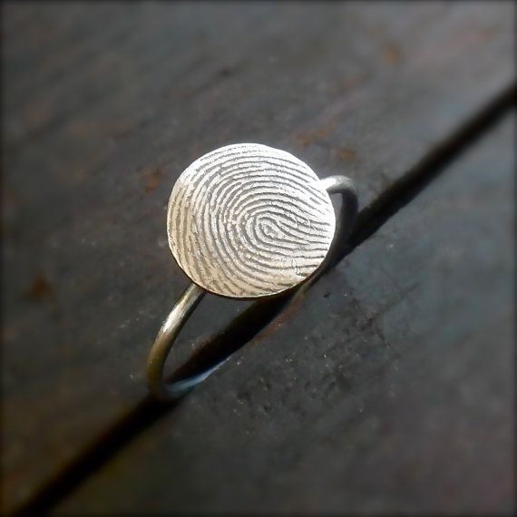 Fingerprint Ring - Custom Fine Silver with Sterling Silver Band