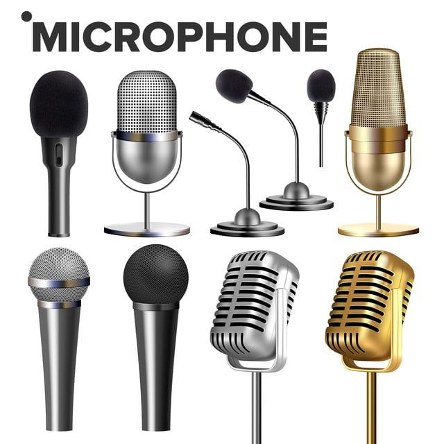 Microphone Set Vector Audio Equipment Music Icon Vintage Concert Modern And Retro Communication Musical Symbol Performance Karaoke Object 3d Realistic Isolated Microphone Microphone Set Audio Equipment