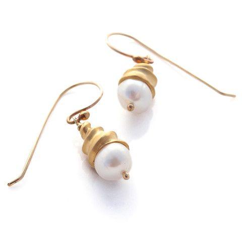 Gold Spiral Shell Earrings by Louise Douglas