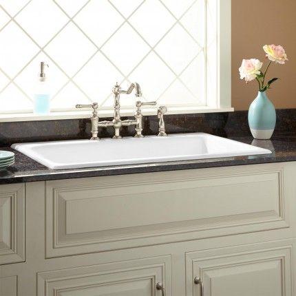 """36"""" Frattina Cast Iron Drop-In Kitchen Sink - 8"""" Widespread - White"""
