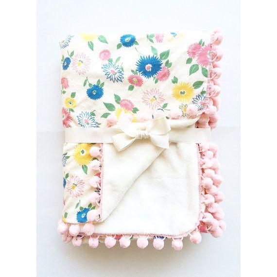 SALE!! Baby Pom Pom Blanket - Pastel Straw Floral with Pink Pom Poms