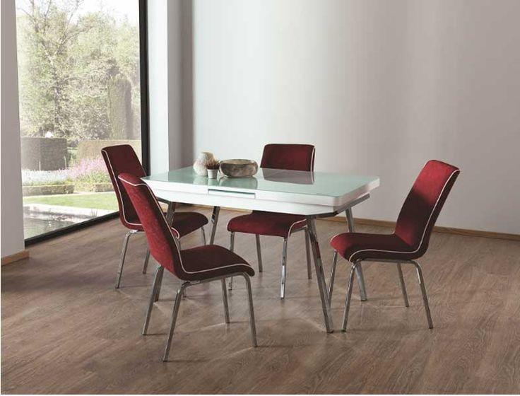 Alwaysstar M-39 Mutfak Masa Takımı Beyaz Bordo Sandalyeli