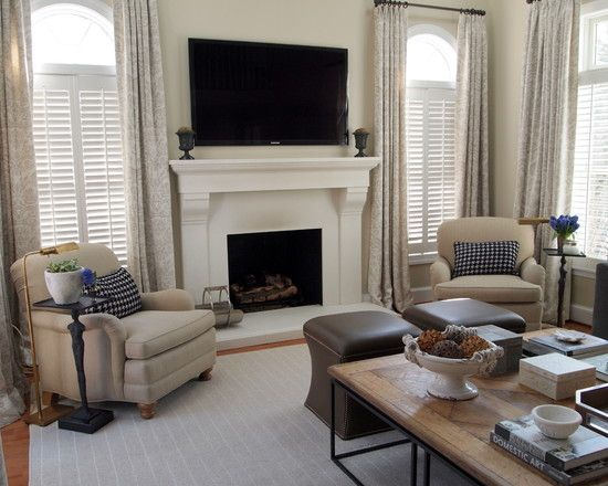 Fireplace between two windows home decor living room - Fireplace between two rooms ...