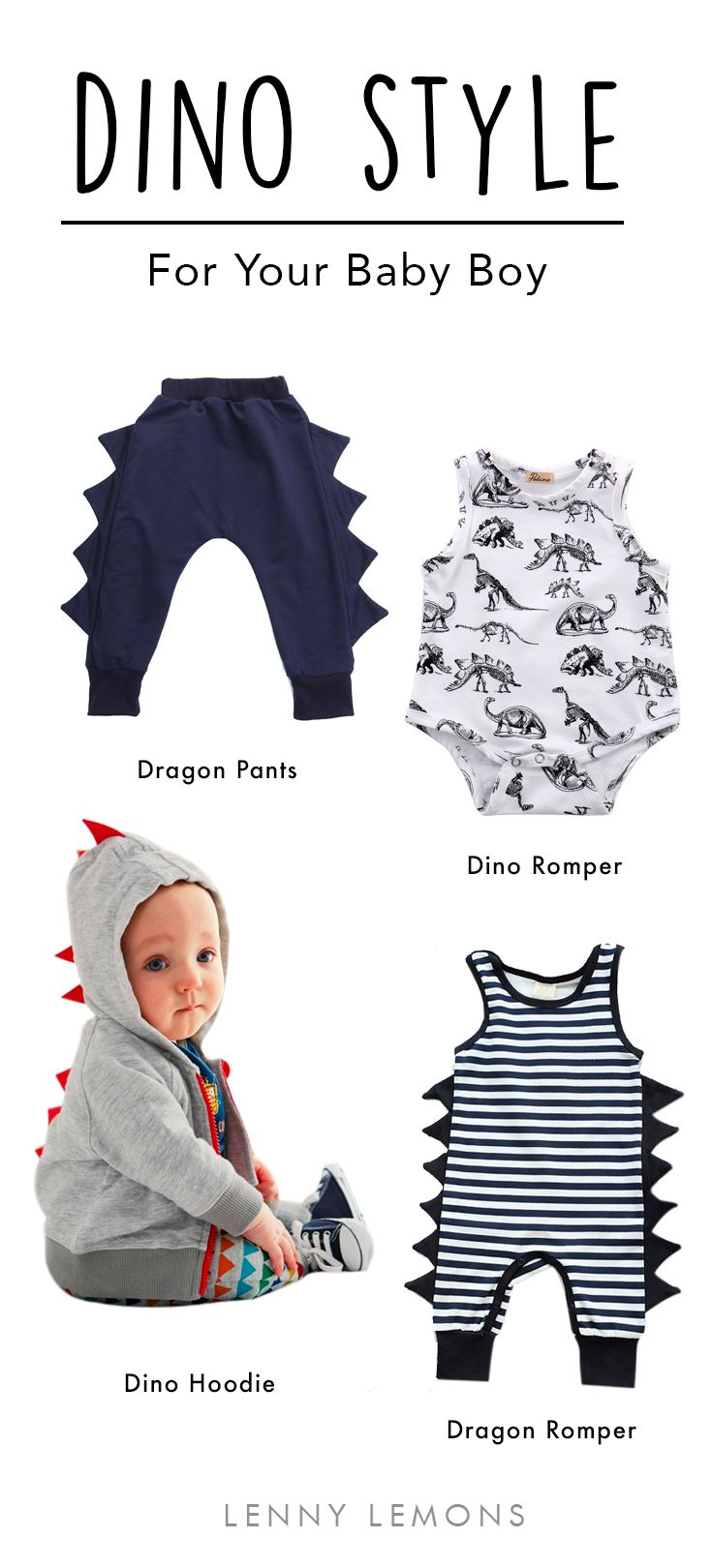 FREE USA SHIPPING! Fun, cute and adorable clothes for your little boy! Inspired in dinosaurs and dragons. Funny and comfortable options for everyday.