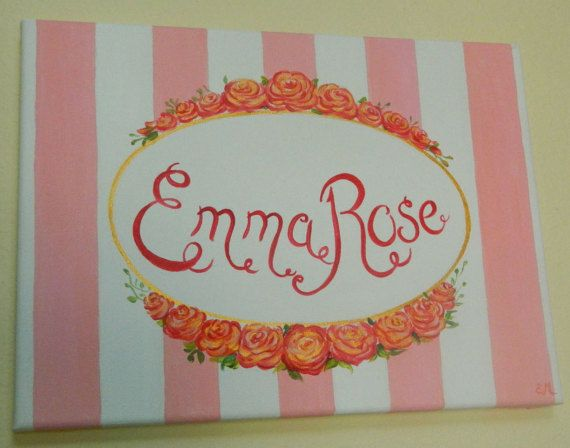 Girl name sign with roses canvas painting Girls by ElenaPaintings1
