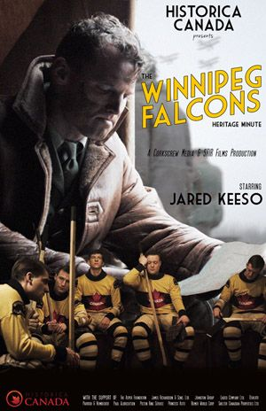 Poster for the Winnipeg Falcons Heritage Minute starring Jared Keeso, available in our shop.