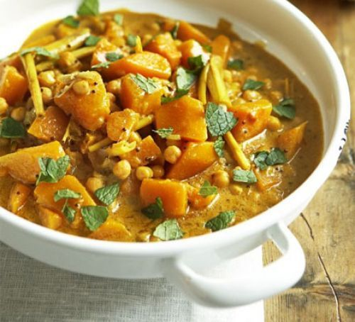 Pumpkin curry with chickpeas. A veggie dinner party dish which stands alone as a vegan main course or as a complex side dish