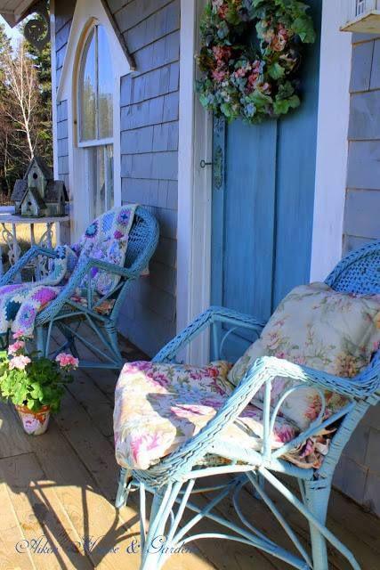 ❥ sunny blue chairs on a beautiful porch~ Aiken Home & Garden