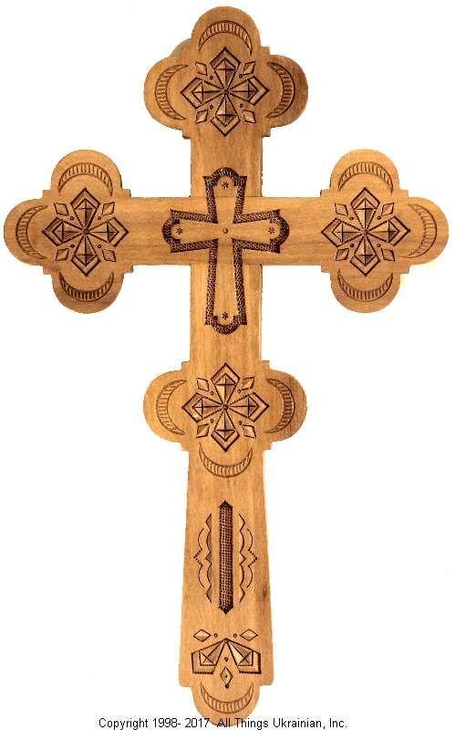 Ukrainian Hand Carved Carpathian Wood Cross # WCR1607 on AllThingsUkrainian.com