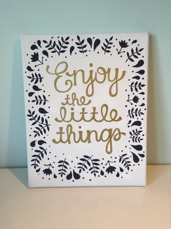 Enjoy the little things quote canvas light blue gold - Things to put on a wall ...