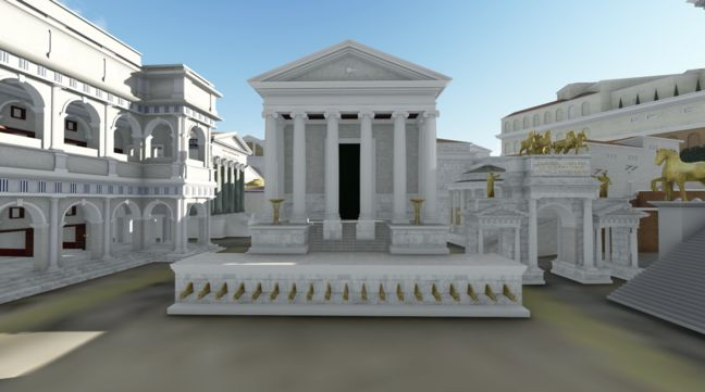 Digital reconstruction of the Temple of the Deified Julius Caesar. © Dr Matthew Nicholls, University of Reading, 2017  from online course about ancient Rome with dr. Nicholls, FutureLearn