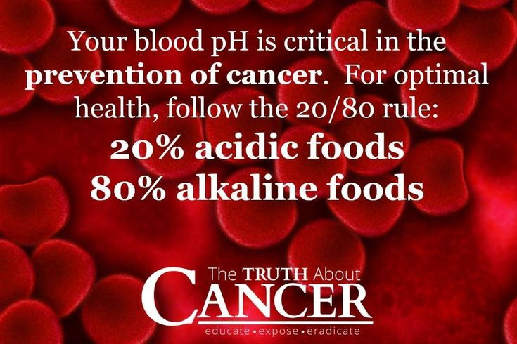 Your blood pH is critical in the prevention of cancer. For optimal health, follow the 20/80 rule: 20% acidic foods, 80% alkaline foods. Please re-pin to help us educate others! // The Truth About Cancer #breastcancerinfographic