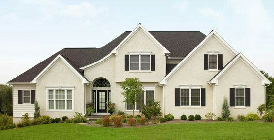 Cream House White Trim Black Shutters Paint Exterior