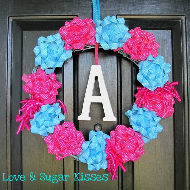just bows and a grapevine with wooden letter..easy!#Repin By:Pinterest++ for iPad#: Bows Wreaths, Gift Bows, Birthday Parties, Gifts Bows, Reveal Parties, Gender Reveal, Birthday Wreaths, Parties Ideas, Birthday Gifts
