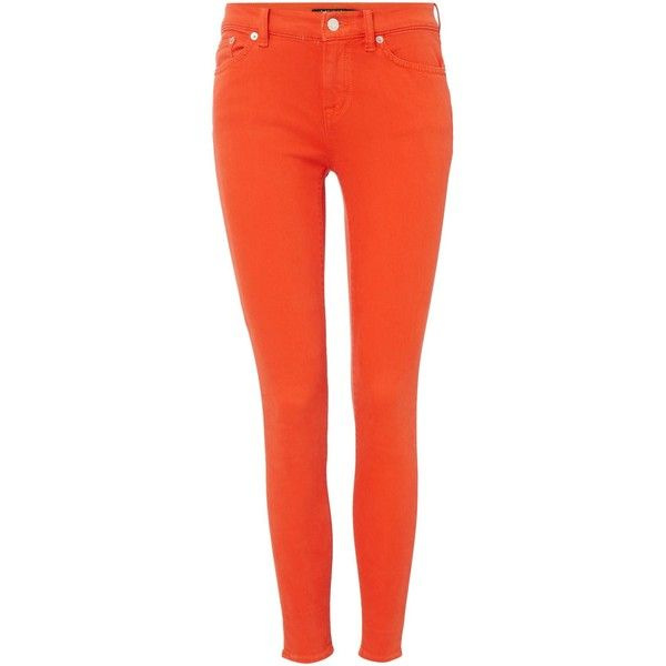 Lauren Ralph Lauren Prmr skinny ankle jean ($155) ❤ liked on Polyvore featuring jeans, orange, women, red skinny jeans, lauren ralph lauren, orange skinny jeans, orange jeans and skinny ankle jeans