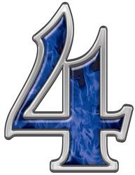 Reflective Number 4 with Inferno Blue Flames | números