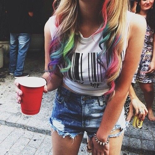 Multi coloured dip dye hair!