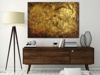 Obraz ręcznie malowany na płótnie galeryjnym ZŁOTE FAKTURY 70x100cm