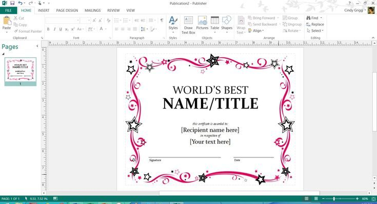Free Printable MS Office Templates for Mother's Day: Mother's Day Award Certificate Template or Microsoft Publisher or Word