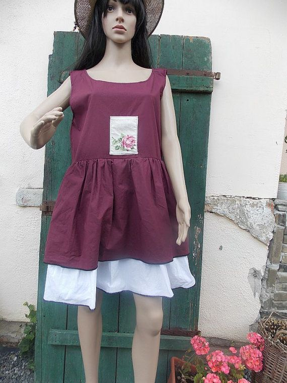 burgundy dress tunic ruffle  country style by AtelierJoanVilem
