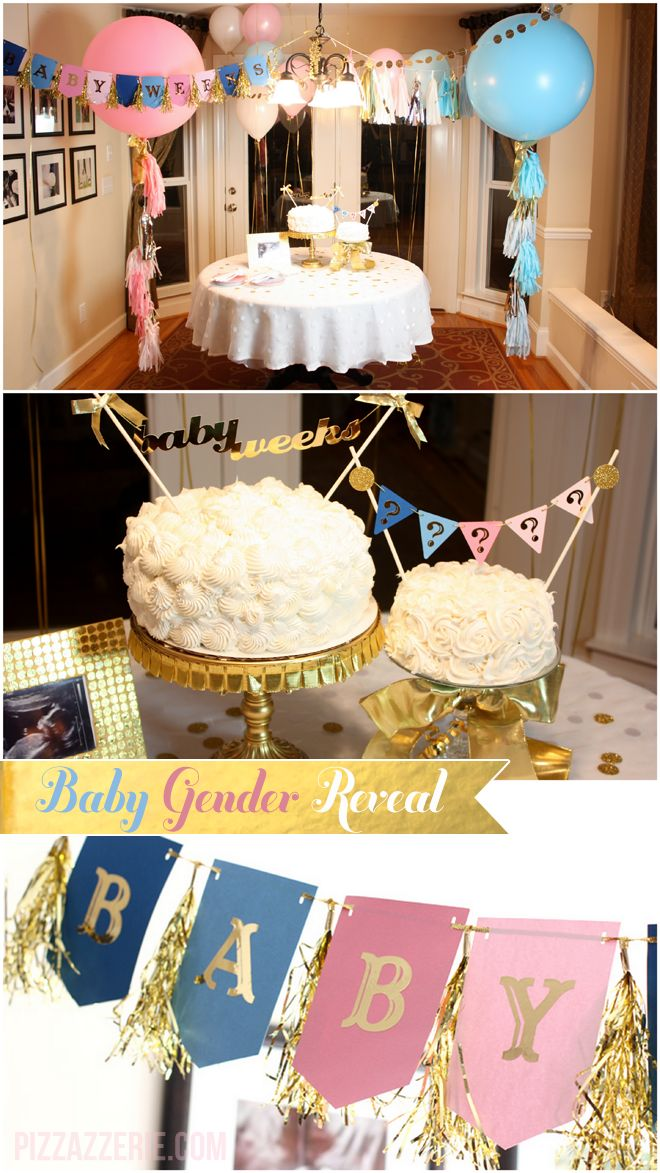 pink blue gold gender reveal party inspiration - Gender Reveal Baby Shower