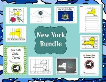 This is a set of 10 state themed resources see individual listings and more descriptions by typing in the state name and AJ Bergs in the search engine.  This set includes research books, travel journals, a reading packet, a location book, puzzles and graduation hats.