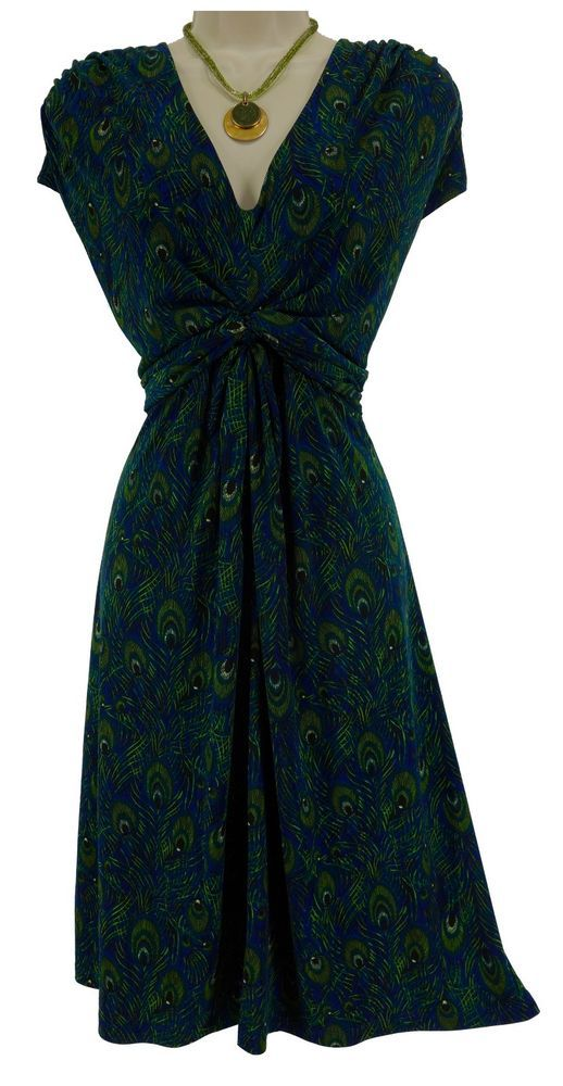 XL X-LARGE SEXY Womens PEACOCK FEATHER PRINT DRESS w/Tie Day/Evening All-Season #Apt9 #Versatile