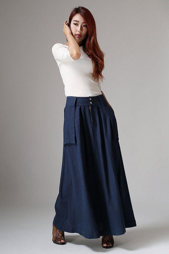 navy blue linen - modern contemporary trendy skirt - long linen skirt - maxi skirt with large pockets - Custom made & Plus size  (1036)